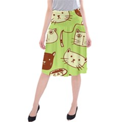 Cute Hand Drawn Cat Seamless Pattern Midi Beach Skirt by Vaneshart