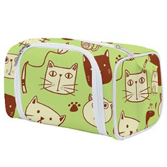 Cute Hand Drawn Cat Seamless Pattern Toiletries Pouch by Vaneshart