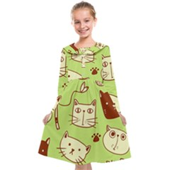 Cute Hand Drawn Cat Seamless Pattern Kids  Midi Sailor Dress