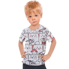 Cute Cat Chef Cooking Seamless Pattern Cartoon Kids  Sports Tee