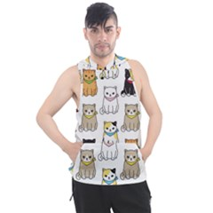 Cat Kitten Seamless Pattern Men s Sleeveless Hoodie