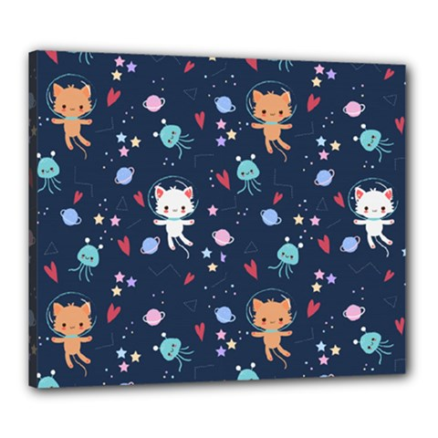 Cute Astronaut Cat With Star Galaxy Elements Seamless Pattern Canvas 24  X 20  (stretched)