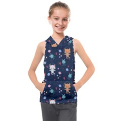 Cute Astronaut Cat With Star Galaxy Elements Seamless Pattern Kids  Sleeveless Hoodie
