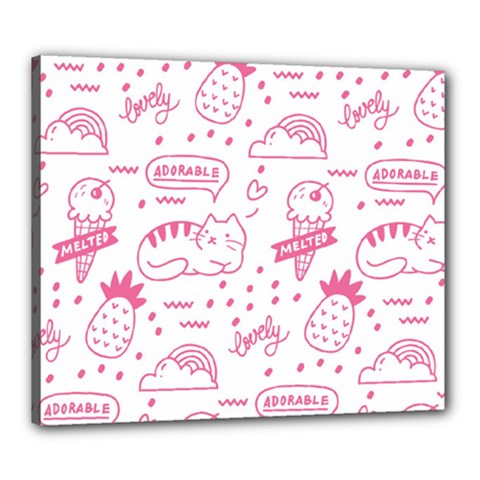 Cute Girly Seamless Pattern Canvas 24  X 20  (stretched)
