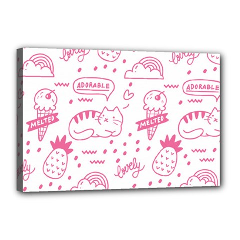 Cute Girly Seamless Pattern Canvas 18  X 12  (stretched)