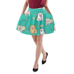 Seamless Pattern Cute Cat Cartoon With Hand Drawn Style A-line Pocket Skirt by Vaneshart