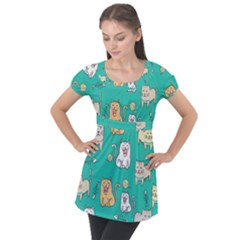 Seamless Pattern Cute Cat Cartoon With Hand Drawn Style Puff Sleeve Tunic Top by Vaneshart