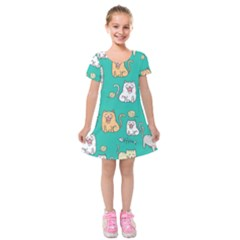 Seamless Pattern Cute Cat Cartoon With Hand Drawn Style Kids  Short Sleeve Velvet Dress by Vaneshart