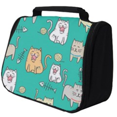 Seamless Pattern Cute Cat Cartoon With Hand Drawn Style Full Print Travel Pouch (big) by Vaneshart