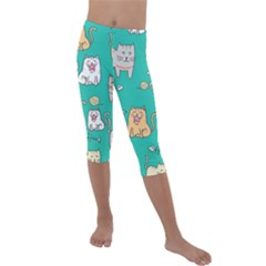 Seamless Pattern Cute Cat Cartoon With Hand Drawn Style Kids  Lightweight Velour Capri Leggings  by Vaneshart