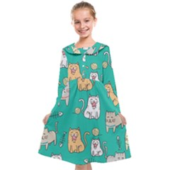 Seamless Pattern Cute Cat Cartoon With Hand Drawn Style Kids  Midi Sailor Dress