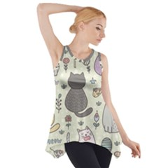 Funny Cartoon Cats Seamless Pattern  Side Drop Tank Tunic by Vaneshart
