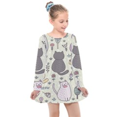 Funny Cartoon Cats Seamless Pattern  Kids  Long Sleeve Dress by Vaneshart