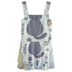 Funny Cartoon Cats Seamless Pattern  Kids  Layered Skirt Swimsuit