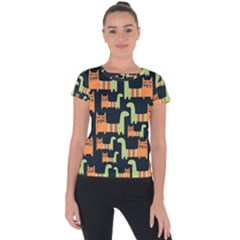 Seamless Pattern With Cats Short Sleeve Sports Top  by Vaneshart