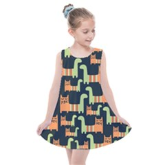 Seamless Pattern With Cats Kids  Summer Dress