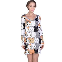 Cute Cat Kitten Cartoon Doodle Seamless Pattern Long Sleeve Nightdress