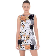 Cute Cat Kitten Cartoon Doodle Seamless Pattern Lace Up Front Bodycon Dress