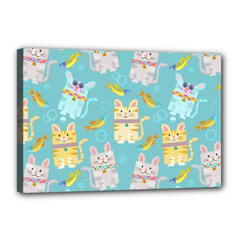 Vector Seamless Pattern With Colorful Cats Fish Canvas 18  X 12  (stretched)