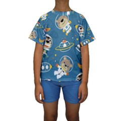 Seamless Pattern Funny Astronaut Outer Space Transportation Kids  Short Sleeve Swimwear by Vaneshart