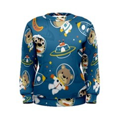 Seamless Pattern Funny Astronaut Outer Space Transportation Women s Sweatshirt