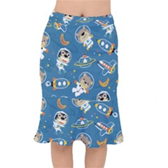 Seamless Pattern Funny Astronaut Outer Space Transportation Short Mermaid Skirt by Vaneshart