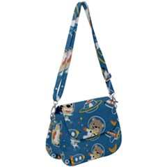 Seamless Pattern Funny Astronaut Outer Space Transportation Saddle Handbag by Vaneshart