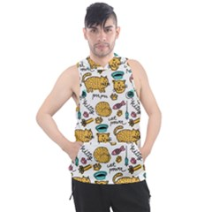 Hand Drawn Kitten Pattern With Elements Men s Sleeveless Hoodie