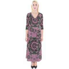 Sakura Wreath And Cherry Blossoms In Harmony Quarter Sleeve Wrap Maxi Dress by pepitasart