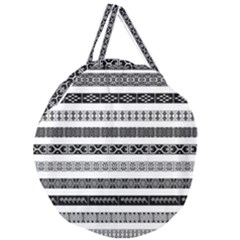 Borders Ikat Ethnic Frame Tribal Giant Round Zipper Tote