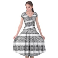 Borders Ikat Ethnic Frame Tribal Cap Sleeve Wrap Front Dress
