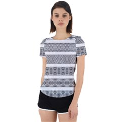 Borders Ikat Ethnic Frame Tribal Back Cut Out Sport Tee