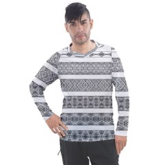 Borders Ikat Ethnic Frame Tribal Men s Pique Long Sleeve Tee