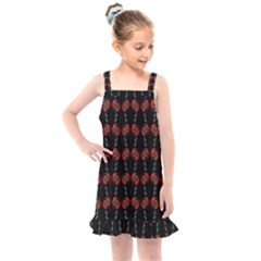 Red Silver Background Electric Kids  Overall Dress