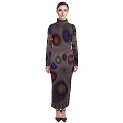 Fractal Fantasy Abstract Pattern Turtleneck Maxi Dress