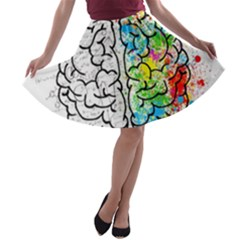Brain Mind Psychology Idea Drawing A-line Skater Skirt by Wegoenart