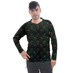 Orange Rose Wallpaper Pattern Men s Pique Long Sleeve Tee