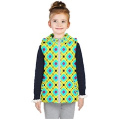 Pattern Tiles Square Design Modern Kids  Hooded Puffer Vest by Wegoenart