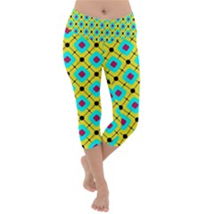 Pattern Tiles Square Design Modern Lightweight Velour Capri Yoga Leggings