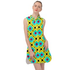 Pattern Tiles Square Design Modern Sleeveless Shirt Dress by Wegoenart