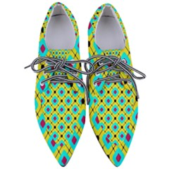 Pattern Tiles Square Design Modern Women s Pointed Oxford Shoes