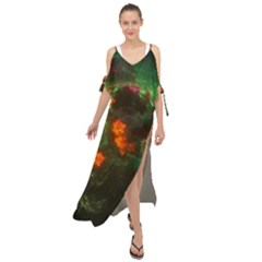 Space Cosmos Galaxy Universe Sky Maxi Chiffon Cover Up Dress