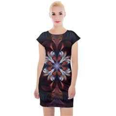 Fractal Flower Fantasy Floral Cap Sleeve Bodycon Dress by Wegoenart