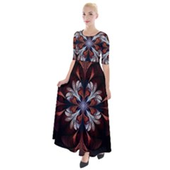 Fractal Flower Fantasy Floral Half Sleeves Maxi Dress