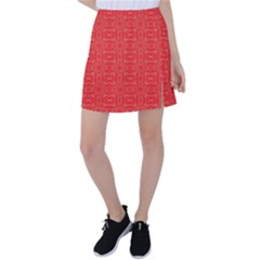 Chinese Background Red Tennis Skirt