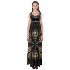 Fractal Flower Fantasy Floral Empire Waist Maxi Dress by Wegoenart