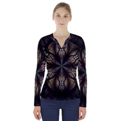 Fractal Flower Fantasy Floral V-neck Long Sleeve Top by Wegoenart