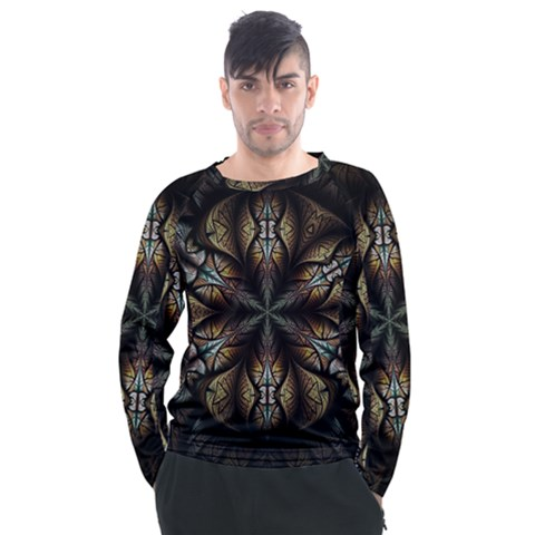 Fractal Flower Fantasy Floral Men s Long Sleeve Raglan Tee by Wegoenart