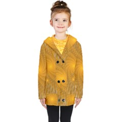 Fractal Abstract Background Pattern Gold Golden Yellow Kids  Double Breasted Button Coat