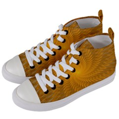 Fractal Abstract Background Pattern Gold Golden Yellow Women s Mid-top Canvas Sneakers by Wegoenart